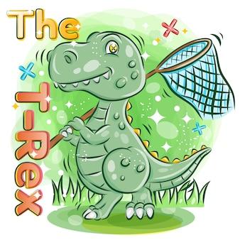Ładny t-rex trzymać siatkę motyla w ogrodzie. ilustracja kolorowy kreskówka.
