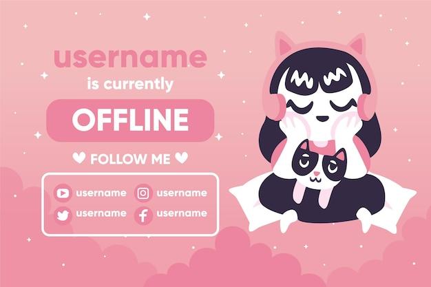 Ładny transparent twitch offline z charakterem