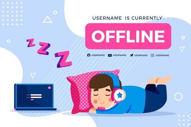 Ładny transparent twitch offline z chłopcem do spania