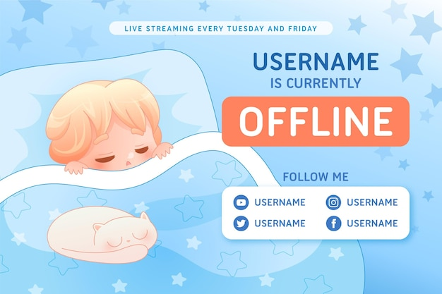 Ładny transparent twitch offline z postacią chłopca