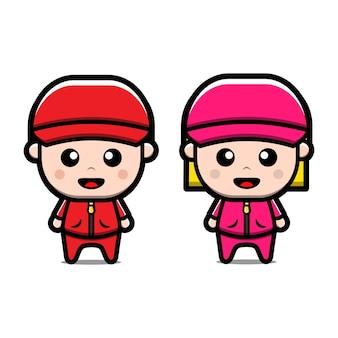 Ładny trener sport postać z kreskówki chłopiec i dziewczynka