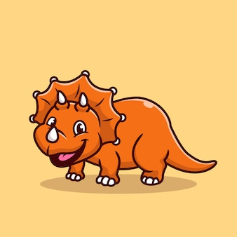 Ładny triceratops uśmiechnięty ikona ilustracja kreskówka. koncepcja ikona dinozaur zwierząt na białym tle. płaski styl kreskówki