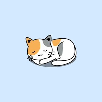 Ładny Trzy Kolorowe Kot śpi Kreskówka Na Białym Tle Na Niebiesko Premium Wektorów