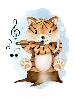 Ładny tygrys akwarela ilustracja ręcznie rysowane