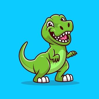 Ładny tyranozaur uśmiechający się ikona ilustracja kreskówka. koncepcja ikona zwierząt dinozaurów na białym tle. płaski styl kreskówki