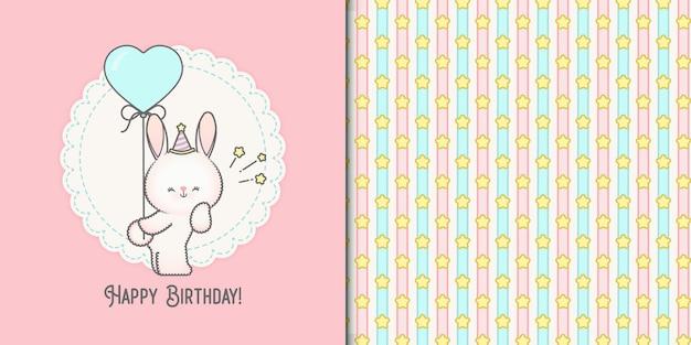 Ładny urodziny mały króliczek karty i wzór gwiazdek