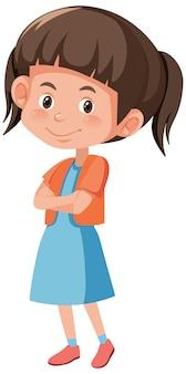 Ładny uśmiech dziewczyna w stojącej pozie postać z kreskówki na białym tle