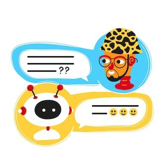 Ładny uśmiechający się bot ai czat napisany z osobą człowieka, ekran aplikacji komunikatora. wektor płaski kreskówka ilustracja ikona designu. na białym tle. chatbot, koncepcja robota, okno pomocy usługi