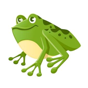 Ładny uśmiechający się zielona żaba siedzi na ziemi kreskówka projekt płaski wektor ilustracja na białym tle.