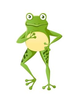 Ładny uśmiechający się zielona żaba stojący na dwóch nogach kreskówka projekt płaski wektor ilustracja na białym tle.