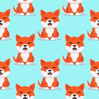 Ładny uśmiechnięty pies shiba inu japonia rasa wektor wzór