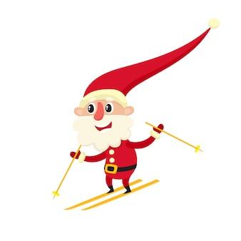 Ładny uśmiechnięty święty mikołaj na nartach, ilustracja kreskówka na białym tle.