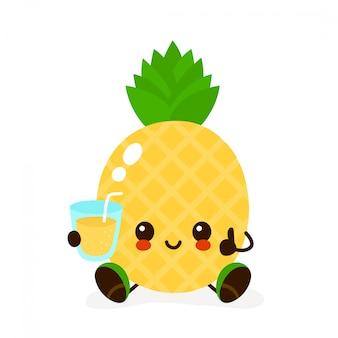 Ładny uśmiechnięty szczęśliwy ananas ze szklanką soku. postać z kreskówki nowoczesny płaski styl. na białym tle ładny ananas, lemoniada, koncepcja soku frash