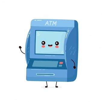 Ładny uśmiechnięty szczęśliwy bankomat.