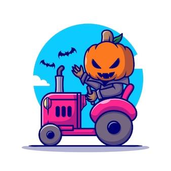 Ładny wampir dyni jazdy ciągnika ikona ilustracja kreskówka. koncepcja ikona wakacje halloween na białym tle. płaski styl kreskówki