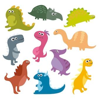 Ładny wektor dinozaury kreskówka na białym tle