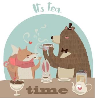 Ładny wektor doodle kreskówka niedźwiedź picia herbaty