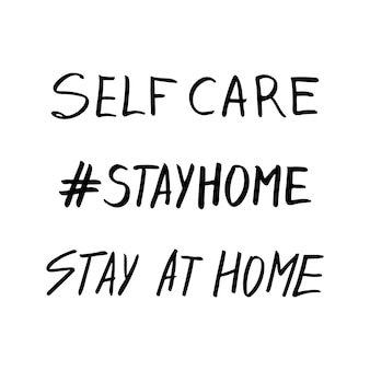 Ładny wektor ręcznie rysowane napis o koronawirusie, covid-19, stay home, praca w domu. ochrona przed pandemią. kwarantanna pozytywne doodle ikony, elementy domu. na białym tle.