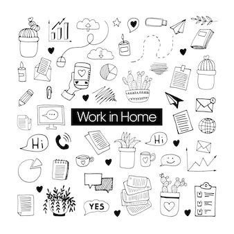 Ładny wektor ręcznie rysowane zbiory zestaw o koronawirusa, covid-19, pobyt w domu, praca w domu. ochrona przed pandemią. kwarantanna pozytywne doodle ikony, elementy domu. na białym tle.