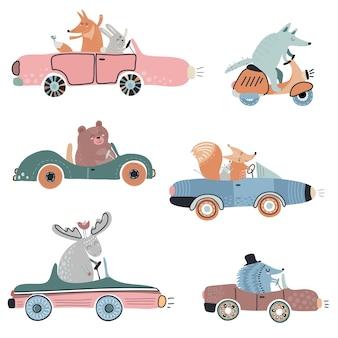 Ładny wektor zestaw zabawnych zwierząt leśnych na samochodach idealny do dekoracji przedszkola dla dzieci