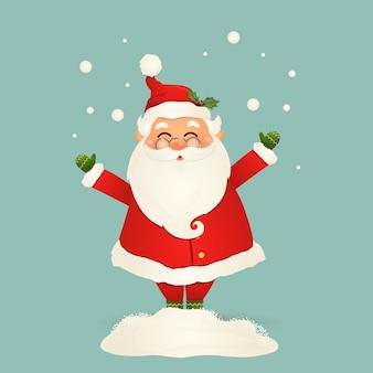 Ładny, wesoły, zabawny święty mikołaj w okularach, machając rękami i pozdrowieniami, padający śnieg, zaspa śnieżna na białym tle. mikołajki na ferie zimowe i noworoczne. szczęśliwy postać z kreskówki świętego mikołaja.
