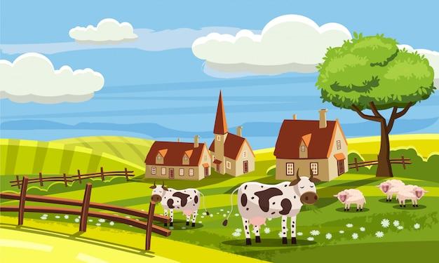 Ładny wiejski krajobraz z gospodarstw i uroczych zwierzątek w stylu kreskówki