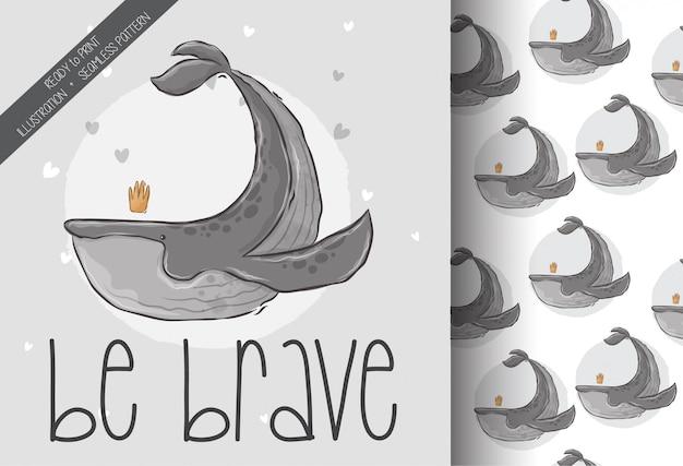 Ładny wieloryb ilustracja zwierząt z bezszwowym wzorem