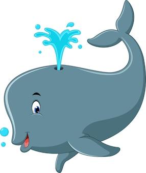 Ładny wieloryb kreskówka