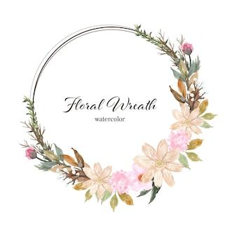Ładny wieniec kwiatowy akwarela z miejscem na tekst