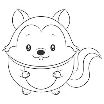 Ładny wiewiórka rysunek szkic do kolorowania