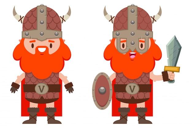 Ładny wiking z brodą w średniowiecznym hełmie, z tarczą i sworem kreskówka płaski zestaw znaków wojowników mężczyzna na białym tle.