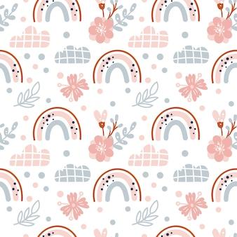 Ładny wiosenny bezszwowy wektor wzór z ręcznie rysowanymi skandynawskimi tęczami i elementami polka dot z kwiatem