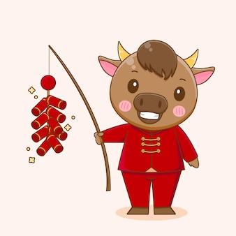 Ładny wół grający fajerwerki, szczęśliwego chińskiego nowego roku