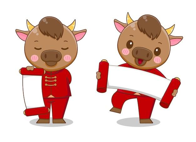 Ładny wół trzymając papier szczęśliwego chińskiego nowego roku