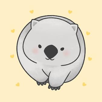Ładny wombat spaceru kreskówka ręcznie rysowane stylu