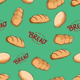Ładny wzór chleba i pączka z ręcznie rysowanym lub doodle stylem