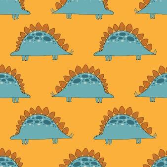 Ładny wzór dinozaura dla dzieci. dinozaur kreskówka jurajski drapieżnik tło wektor