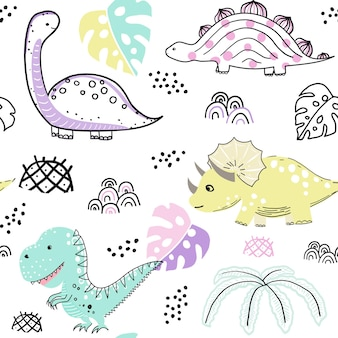Ładny wzór dinozaurów ręcznie rysowane słodkie tło wektorów dinozaurów tło dla tkaniny na ubrania