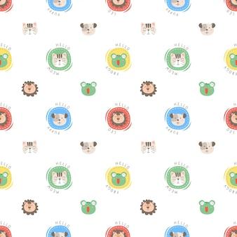Ładny wzór głowy zwierząt w stylu polka dot