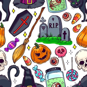 Ładny wzór halloween magicznych atrybutów i cukierków. ręcznie rysowane ilustracji