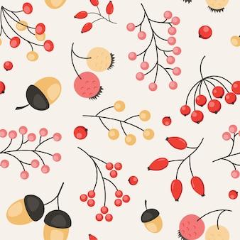 Ładny wzór jesień z jagodami i żołędziami. bezszwowe tło jesieni