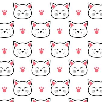 Ładny wzór kotów kreskówek