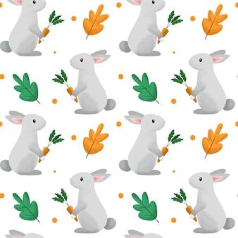 Ładny wzór królika i marchewki.
