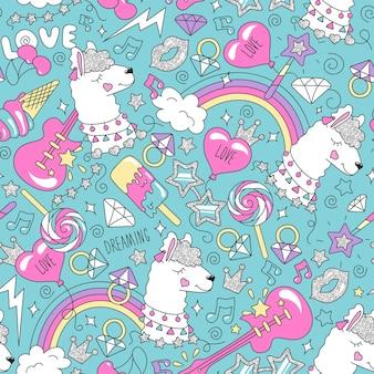 Ładny wzór lamy na turkusowym tle. kolorowy modny wzór. ilustracja moda rysunek w nowoczesnym stylu na ubrania. rysowanie ubrań dla dzieci, koszulek, tkanin lub opakowań.