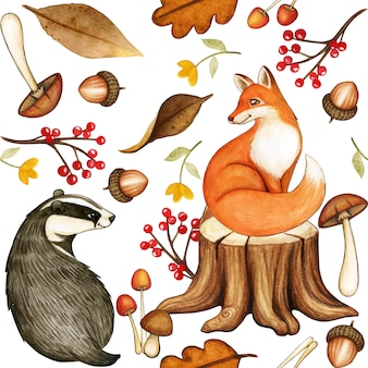 Ładny wzór lasu akwarela z lisem i borsukiem