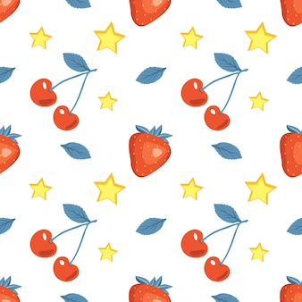 Ładny wzór lato z wiśni, truskawek i gwiazd