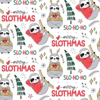 Ładny wzór lenistwo, przytulne tło zima. doodle leniwy leniwiec z brzydkim swetrem, filiżanką kawy. ładny projekt wakacji, druk, papier do pakowania.