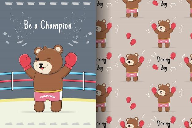 Ładny wzór niedźwiedzia bokserskiego i karty