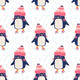 Ładny wzór, pingwiny na lodowisku. druk na opakowaniach, tapetach, tkaninach, tekstyliach.