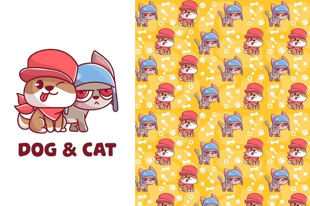 Ładny wzór psa i kota